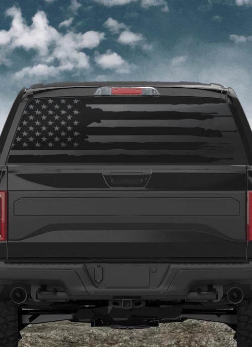 Torn american flag truck back window decal