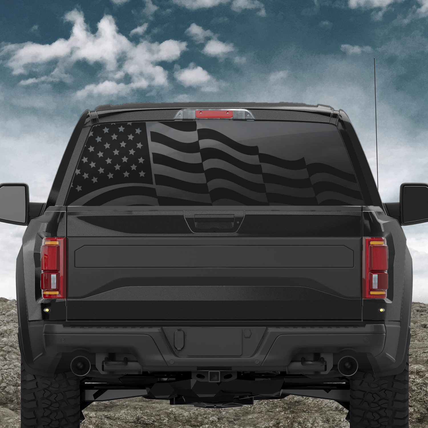 Waving American Flag Truck Back Window Decal Indianola